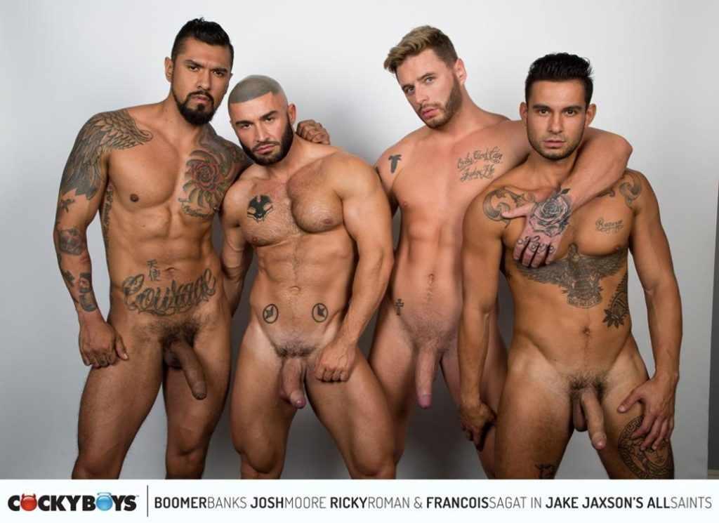 Les plus beaux males du porno en action hardcore : Boomer Banks, Josh Moore, Ricky Roman & Francois Sagat